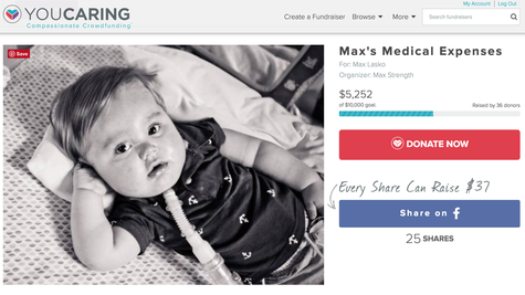 Picture of YouCaring fundraiser for Max