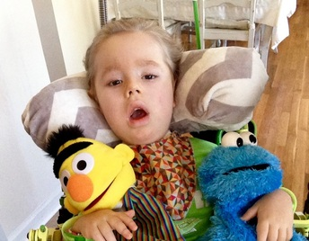Max sitting up in his adaptive wheelchair seat holding two Sesame Street puppets (Bert and Cookie Monster)